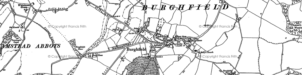 Old map of Burghfield in 1898