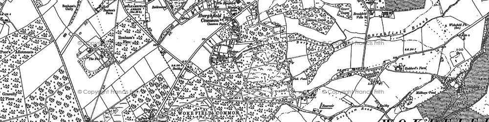 Old map of Burghfield Common in 1898