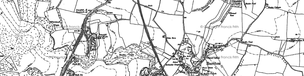 Old map of Buriton in 1908