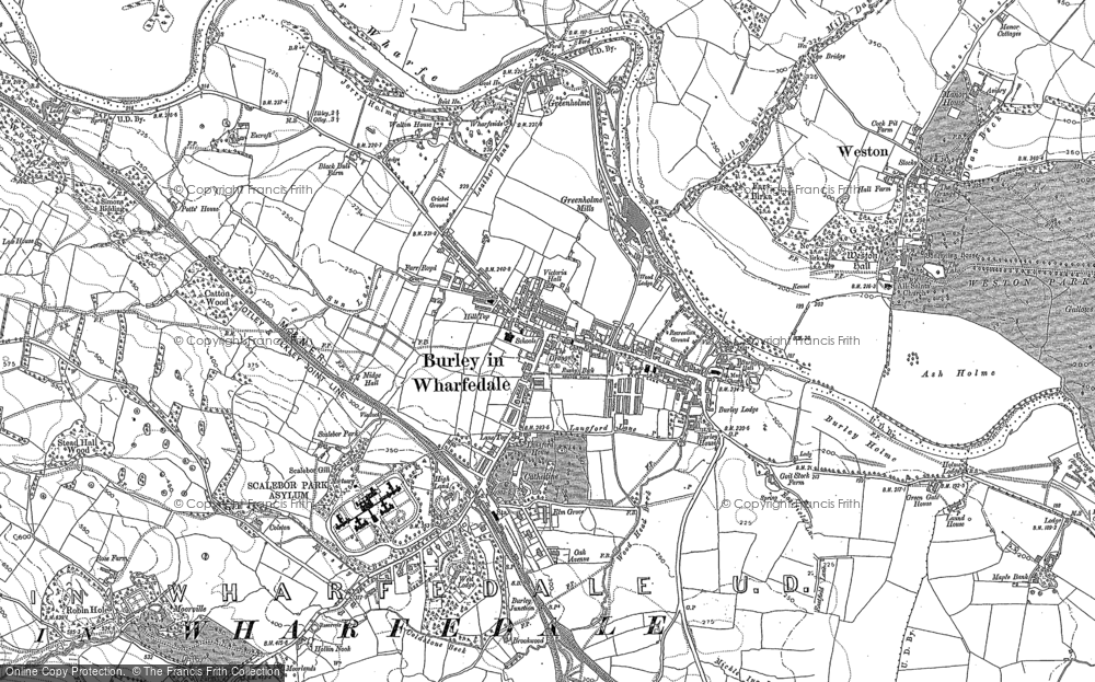 Map of Burley in Wharfedale, 1889 - 1907
