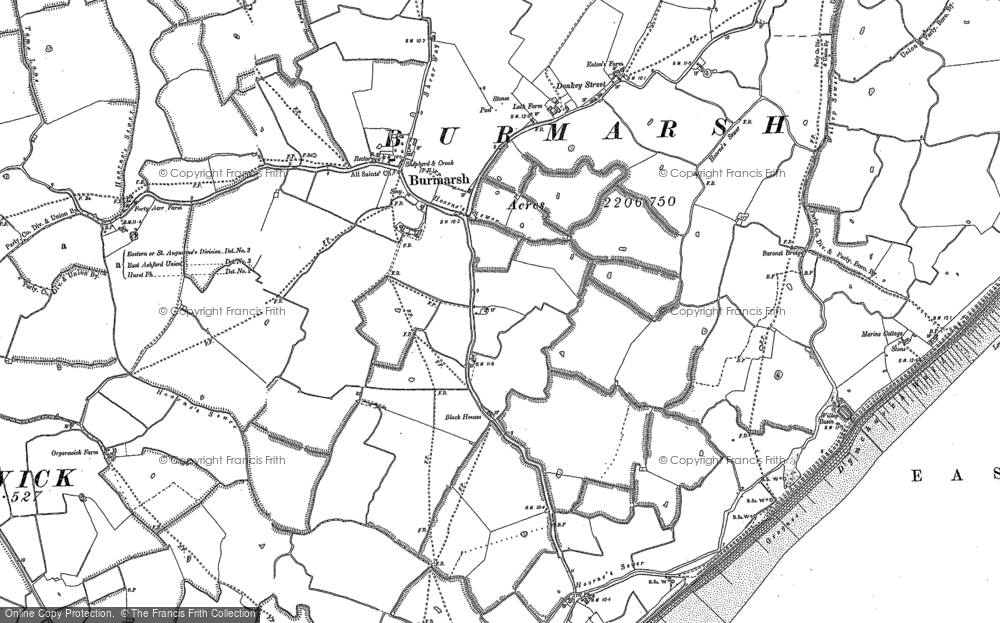 Old Map of Historic Map covering Abbott's Court in 1896