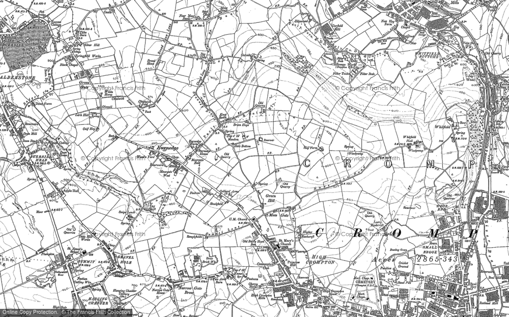 Old Map of Historic Map covering Balderstone in 1907