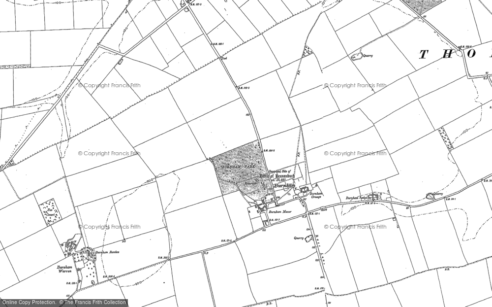 Old Map of Historic Map covering Wootton Dale in 1886