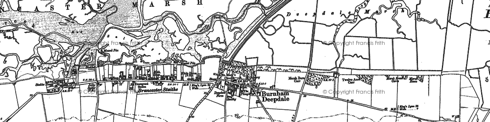 Old map of Burnham Deepdale in 1886