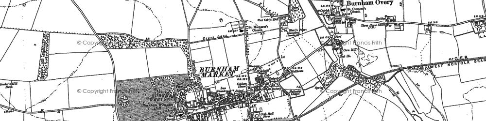 Old map of Burnham Market in 1886