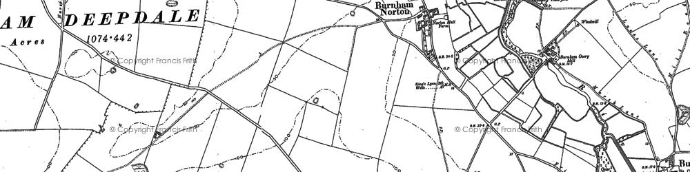 Old map of Burnham Norton in 1886