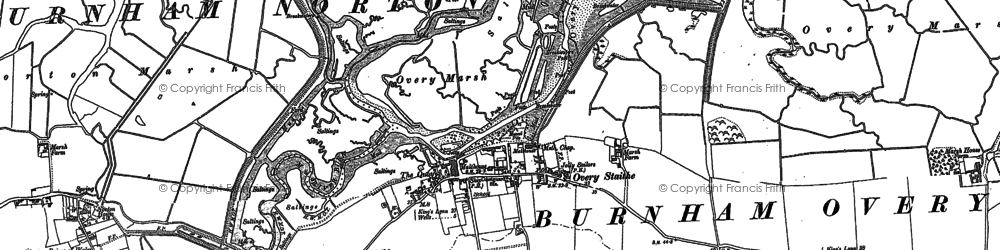 Old map of Burnham Overy Staithe in 1886