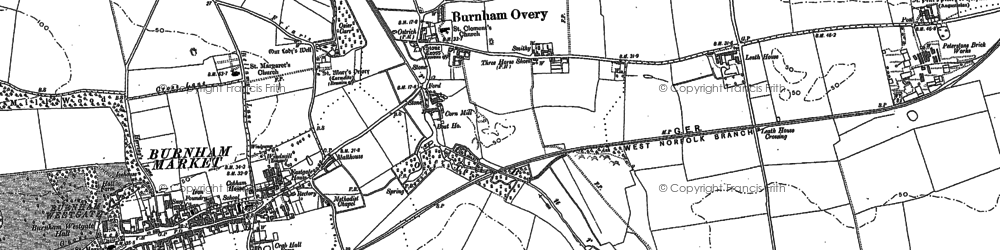 Old map of Burnham Overy Town in 1886