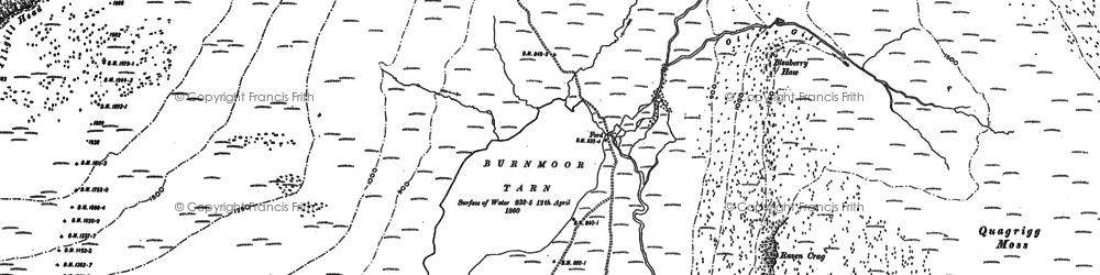 Old map of Burnmoor Tarn in 1897