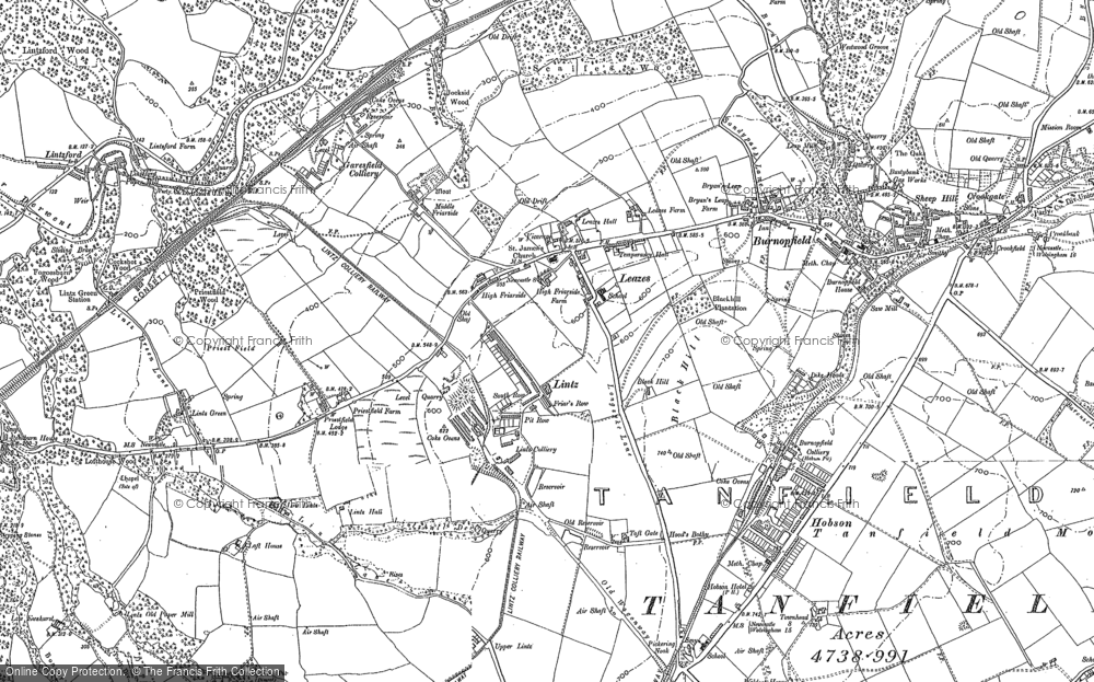 Old Map of Historic Map covering Lintz in 1895