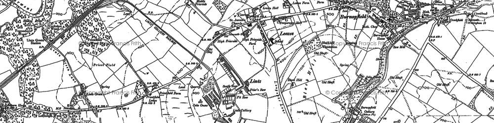 Old map of Burnopfield in 1895