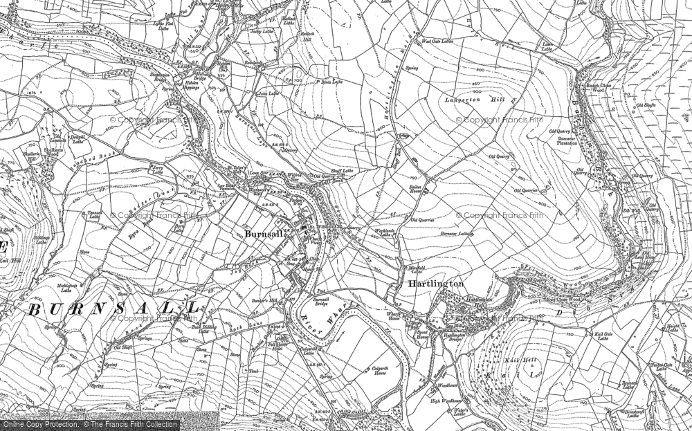 Old Map of Historic Map covering Air Scar Crags in 1907