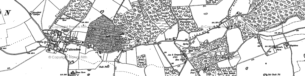 Old map of Burnt Hill in 1898