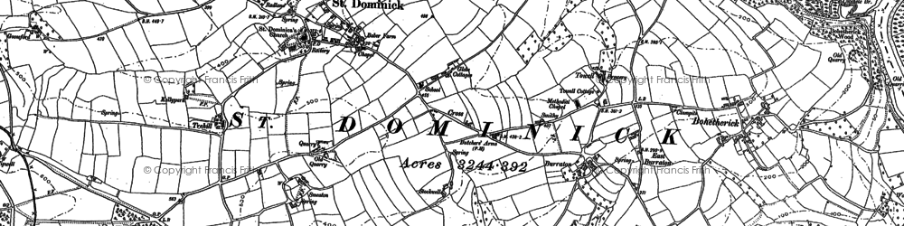 Old map of Burraton in 1886