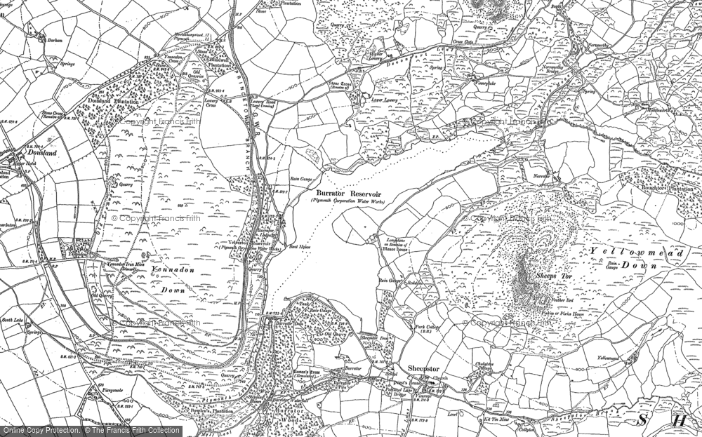 Old Map of Historic Map covering Leather Tor in 1883