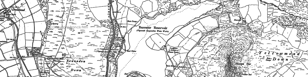 Old map of Leather Tor in 1883