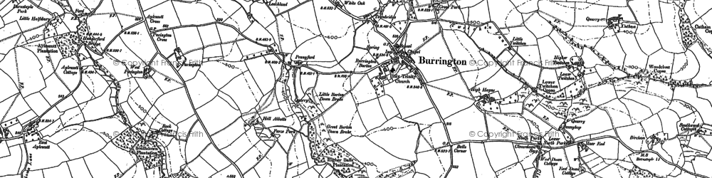 Old map of Balls Corner in 1887