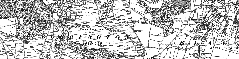 Old map of Aveline's Hole in 1883