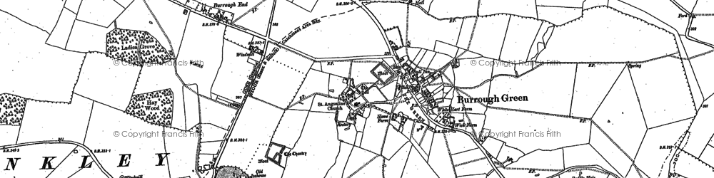 Old map of Burrough Green in 1901