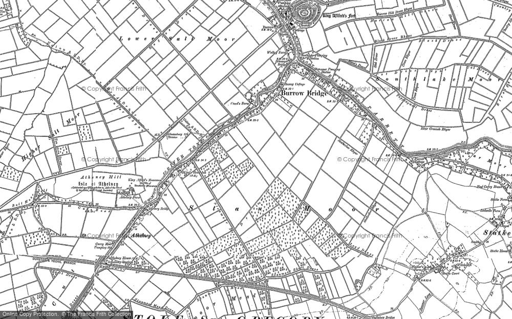 Old Map of Burrowbridge, 1885 - 1887 in 1885