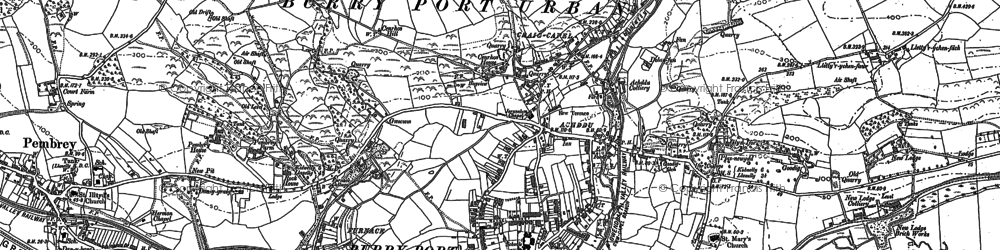 Old map of Burry Port in 1905