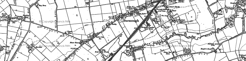 Old map of Burscough in 1891