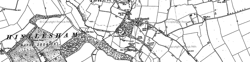 Old map of Burstall in 1881