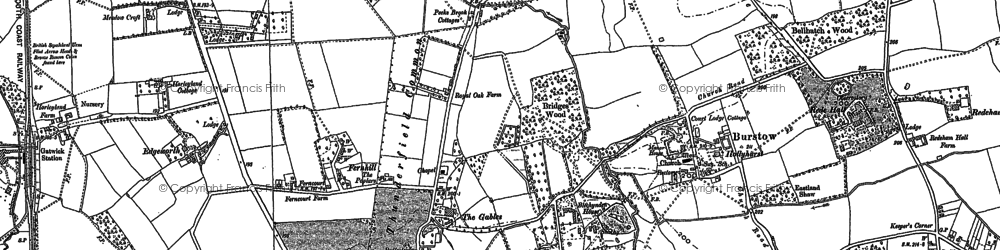 Old map of Burstow in 1910