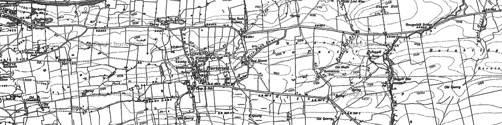 Old map of Bainbridge Ings in 1892