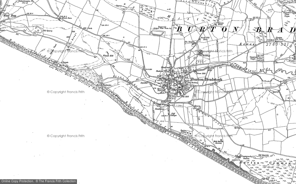 Old Map of Burton Bradstock, 1901 in 1901