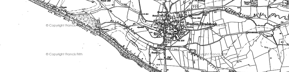 Old map of Burton Bradstock in 1901
