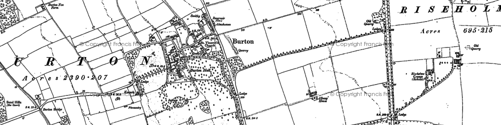 Old map of Burton-by-Lincoln in 1885