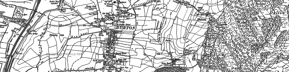 Old map of Burton-in-Kendal in 1911