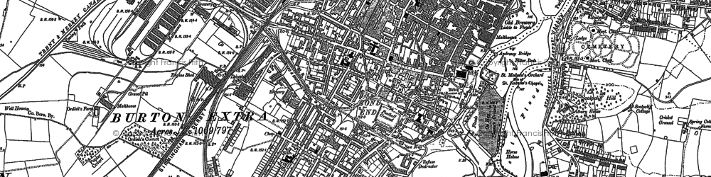 Old map of Burton upon Trent in 1889