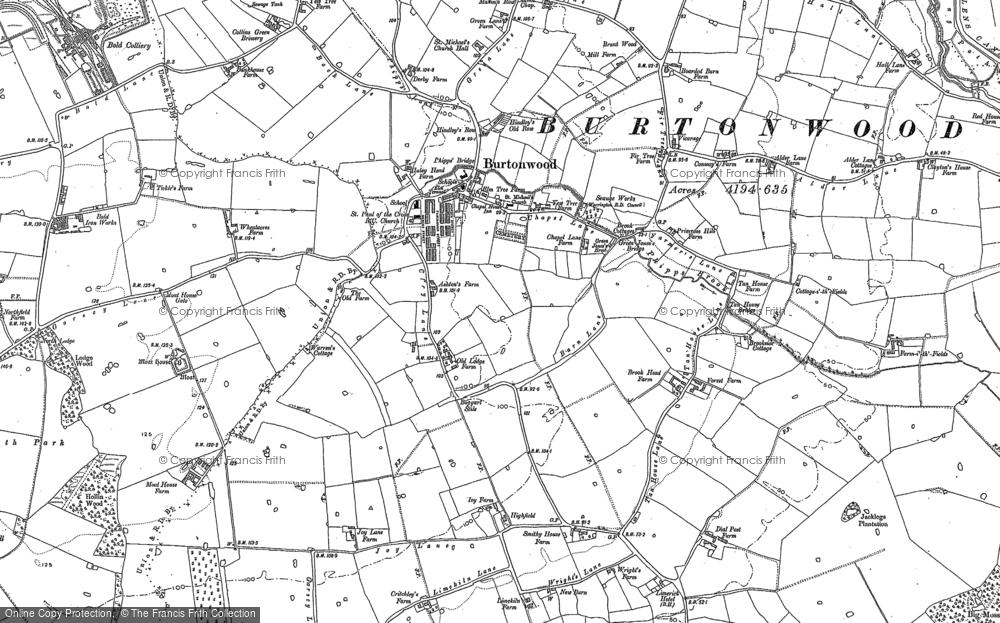 Old Map of Burtonwood, 1891 - 1892 in 1891