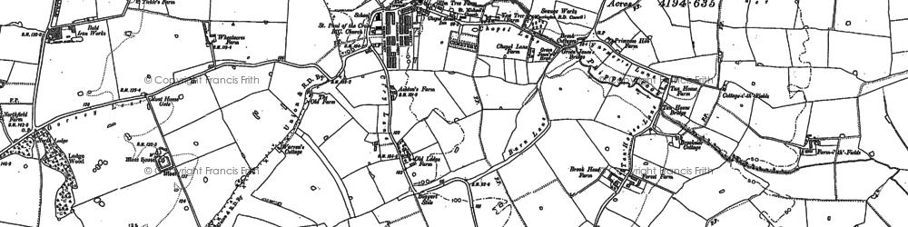 Old map of Burtonwood in 1891