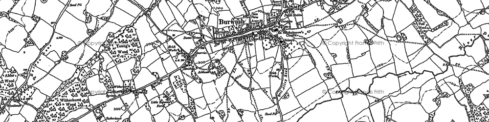 Old map of Burwash in 1897