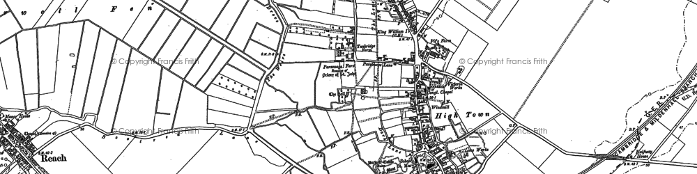 Old map of Burwell in 1886