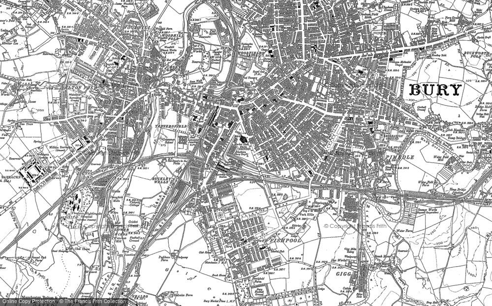 Old Map of Historic Map covering Limefield in 1891