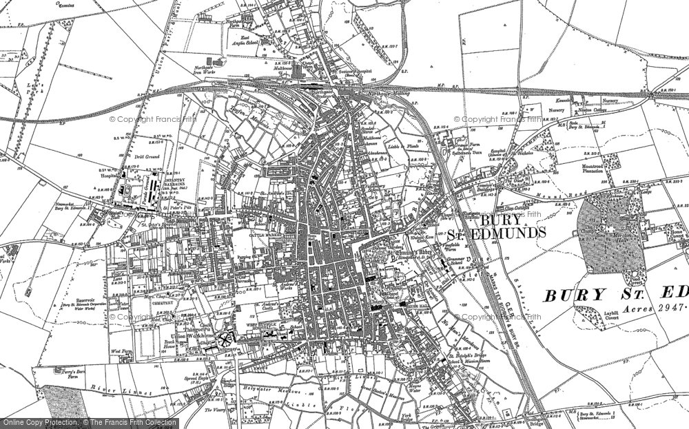 Map of Bury St Edmunds, 1882 - 1901