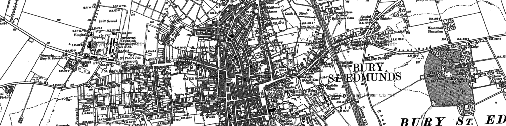 Old map of Bury St Edmunds in 1882