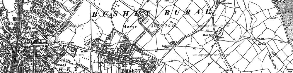 Old map of Bushey in 1911
