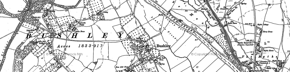 Old map of Bushley in 1900