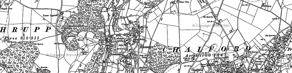 Old map of Bussage in 1882