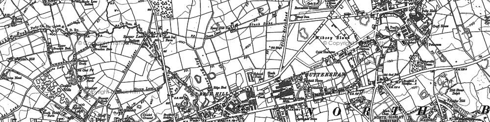 Old map of Woodside in 1890