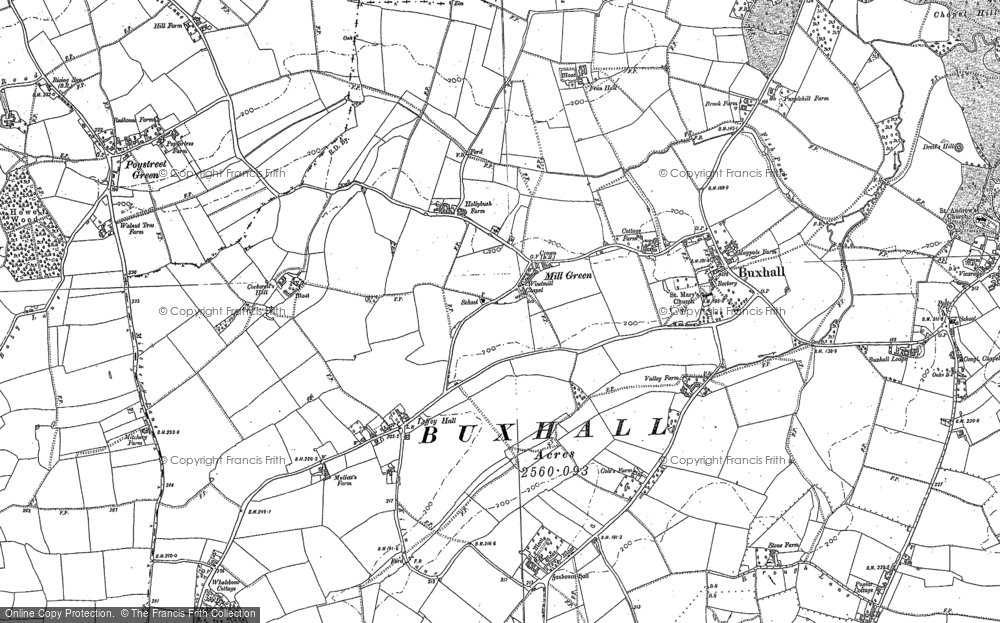 Old Map of Historic Map covering Wood Hall in 1884