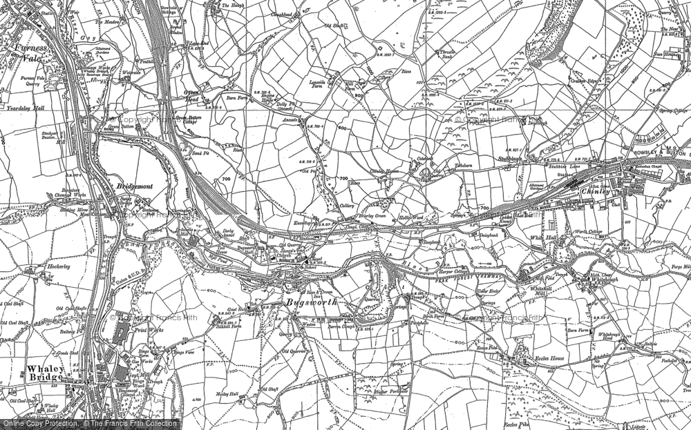 Old Map of Historic Map covering Whitehough in 1896