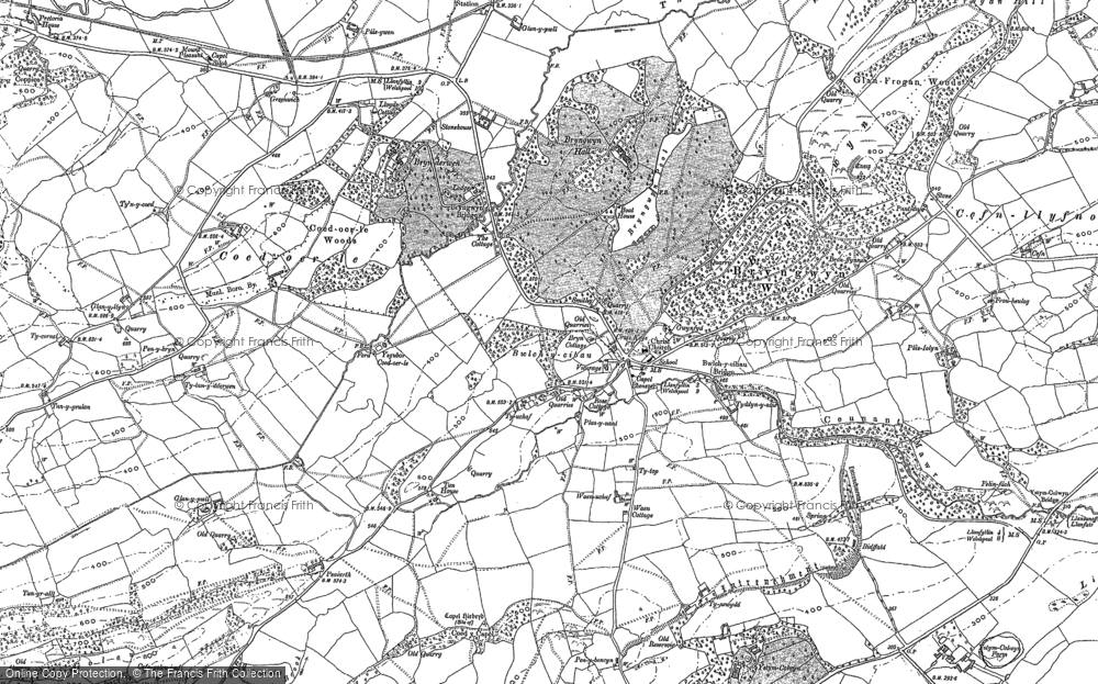 Old Map of Historic Map covering Afon Cain in 1885