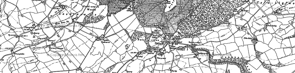 Old map of Afon Cain in 1885
