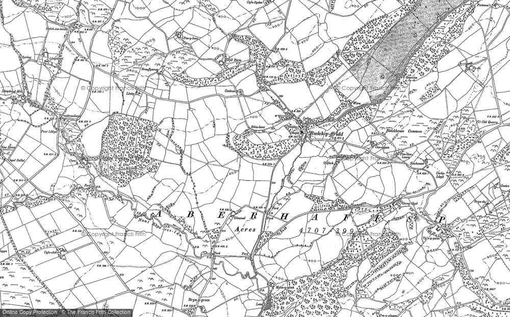Old Map of Historic Map covering Alltyffynnon in 1884